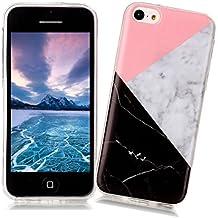 XiaoXiMi Funda iPhone 5C con Textura de Mármol Carcasa de Silicona Slim Soft TPU Silicone Case Cover Funda Protectora Carcasa Delgado Ligero Caso Suave Flexible Casco Anti Rasguños Anti Choque para iPhone 5C - Geométrico