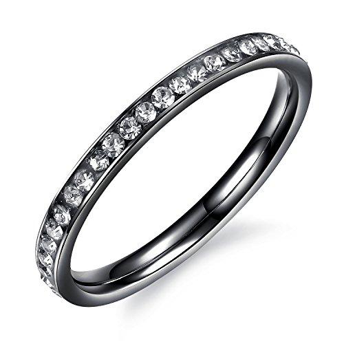 bigsoho Fashion Damenring Zirkonia Ehering Partner Ring Verlobungsring 2mm breit Edelstahl Schmuck (Schwarz, 52 (16.6)) Ehering Stein