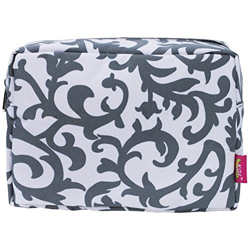 Grey Damask Print Large Cosmetic Travel Pouch by NGIL