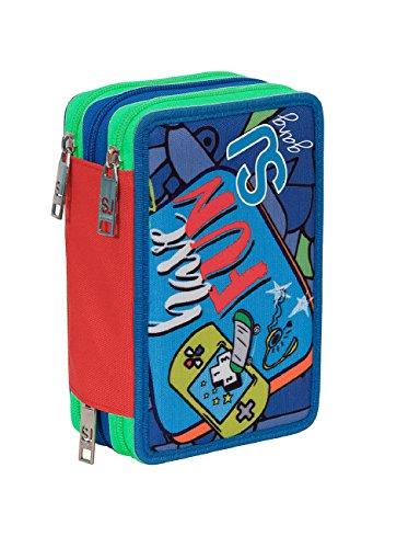 Estuche Escolar 3 Compartimentos Seven – SJ Boy – 3 Pisos – Rojo Azul – con lápiz, marcadores, boligrafos.