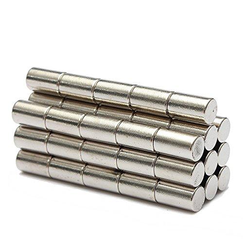 Meawmewa Store N52 starke Neodym-Magneten, Scheibenform, Zylinder, Seltene-Erden-Magnet, 6 x 10 mm, 50 Stk (Magnet Erde)