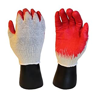 300 pairs, Latex Coated Work Gloves- Natural 10 Gauge Cotton/Poly Orange Latex Palm (Large) by AZUSA SAFETY