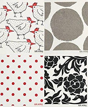 Trendy Tripper Schwedische Geschirrtuch, Set 4rot & Grau (PN) Designs -