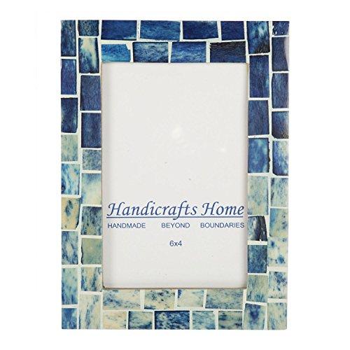 Handicrafts Home Indigo Mosaic Photo Frame Bone Handmade Picture Frames Size 4x6