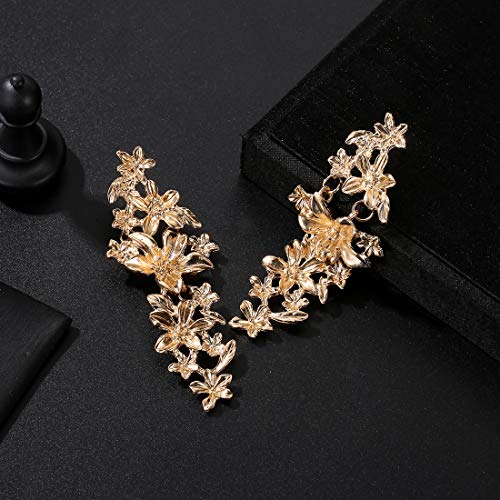 Jewels Galaxy Exclusive Floral Design Gold Plated Brilliant Drop Earrings For Women/Girls