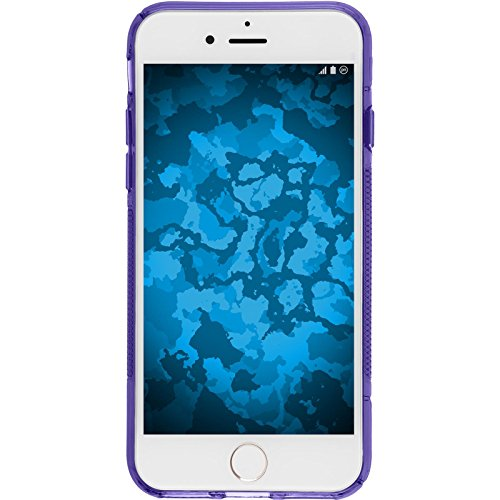 PhoneNatic Case für Apple iPhone 8 Hülle Silikon schwarz S-Style Cover iPhone 8 Tasche + 2 Schutzfolien Lila