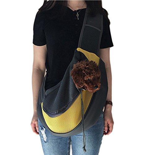 Wiiguda@Schlinge tragbare Haustier Tasche Verstellbare Single-Schulter Tasche für Hunde Katzen Reisetasche Hand-befreit mit extraer Tasche für Haustier M(2,5-5kg)