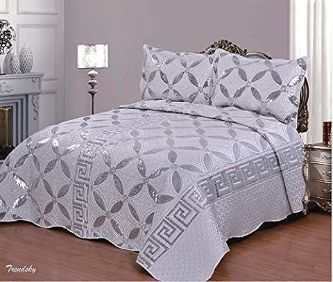 [08B] Silber 3 Teilig XL Moderne Doppelbett Bettgarnitur 250x260cm Tagesdecke mit Kissenbezug Bettüberwurf Bett Decke + Kissenbezüge # Patchwork+Kissen-Bezug 3 Teile (3-teiliges Set Bett)