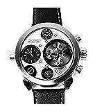 Evil Wear XXL Uhren Herren UBoot-Uhr silber German Designer Watch hochwertige Weltreise Armbanduhr SILVER