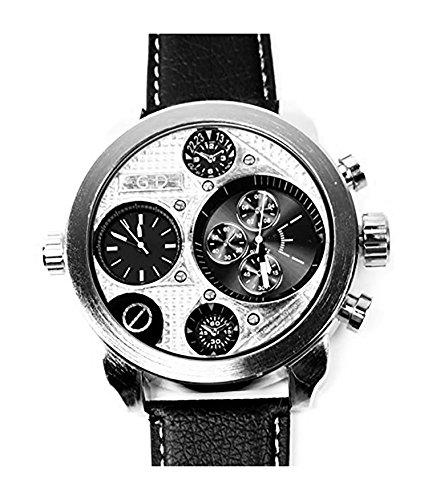 Trendit XXL Uhren Herren U Boot-Uhr Silber German Designer Watch hochwertige Weltreise Armbanduhr Silver
