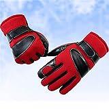 AGGK Männer Voller Finger Handschuhe Frau Winter Verdicken Warm Bergsteiger-Handschuh Berührungsempfindlicher Bildschirm Reiten Wasserdicht Draussen Handschuh, red