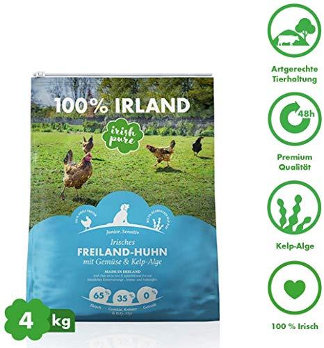 Irish Pure Junior Freiland-Huhn mit Kelp-Alge & Gemüse - Welpen Trockenfutter für wachsende Hunde, Hoher Fleischanteil, Getreidefrei, Sensitiv, Puppy, Hundetrockenfutter, Hundefutter (4kg)