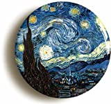 """""""STARRY NIGHT BY VINCENT VAN GOGH"""" BADGE (Size is 1inch/25mm diameter) POST IMPRESSIONISM EXPRESSIONISM ART"""