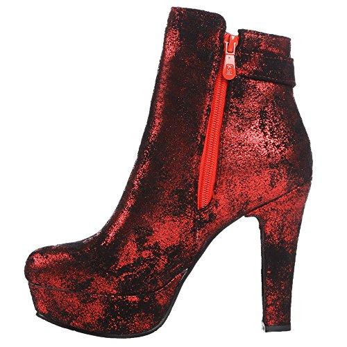 HooH Femmes Bottines Talon haut Fermeture éclair Plateforme Court Bottes Rouge