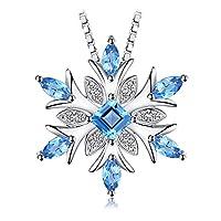 JewelryPalace Sneeuwvlok Echte Zwitserse Blauwe Topaas Solide 925 Sterling Zilver Hanger Ketting