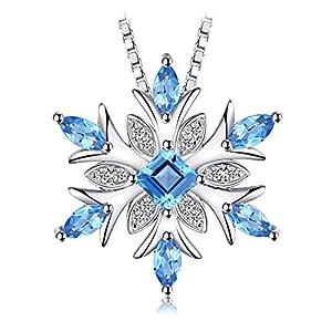 Jewelrypalace Schneeflocke echten Schweizer Blau Topas Solid 925 Sterling Silber Anhänger Halskette
