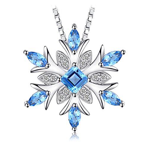 JewelryPalace Naturale Topazio Azzurro Sintetico Cubic Zirconia Fiocco di Neve Ciondolo Collana con Pendente Argento Sterling Catena 45cm