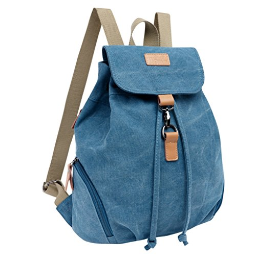 LaoZan Damen Casual Vintage Leinwand Rucksack Blau