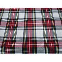 Tejido de cuadros escoceses, color rojo y blanco
