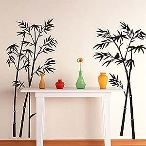 Sticker mural Autocollant de mur de vinyle décoratif bambou Home Kids Chambre bureaux à domicile Noir