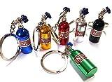 1x NOS Power Lachgas Flasche Einspritzung Schlüsselanhänger aus ALU in 6 Farben Schlüssel KFZ PKW G60 G40 VR6 16V Flasche mit abnehmbarnen Deckel Anhänger ca 10,0 Lang & 1,6 Breit (blau)