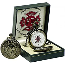 Round Fire Brigade Pocket Watch in Gift Box Clock, Bronze