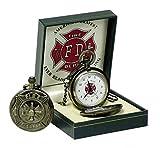 Unbekannt Runde Feuerwehr Taschenuhr in Geschenkbox Uhr bronzefarben
