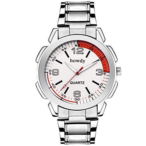 Howdy Analog Stainless Steel Strap Men's Watch (Red Silver)