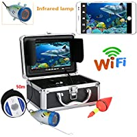 GW 7 Pouces TFT 50M 1000tvl Kit de caméra vidéo de pêche sous-Marine, HD WiFi sans Fil pour iOS Android APP Prend en Charge l'enregistrement vidéo et Prendre des Photos