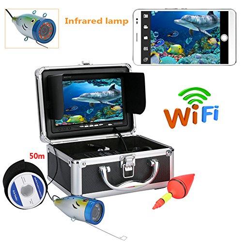 HONGHUIYU 7 Zoll TFT 50M 1000tvl Unterwasserfischen-Videokamera-Installationssatz, HD WiFi Radioapparat für IOS Android APP stützt Videoaufzeichnung und nimmt Foto