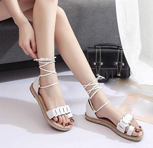 Sommer runde flache Schuhe Mode-Sets toe Kreuzgurte römischen Sandalen White JFErf