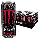 Monster Energy Assault mit kräftigem Kirsch-Geschmack im Camouflage Design, Energy Drink Dosen-Palette, EINWEG (24 x 500 ml)
