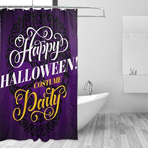 (COOSUN Dusche Halloween-Schädel-Vorhang Set Polyester-Gewebe Wasserabweisend Badezimmer Duschvorhang Set Hauptdekoration mit Haken, 60W X 72L Inche 60x72 Mehrfarbig)