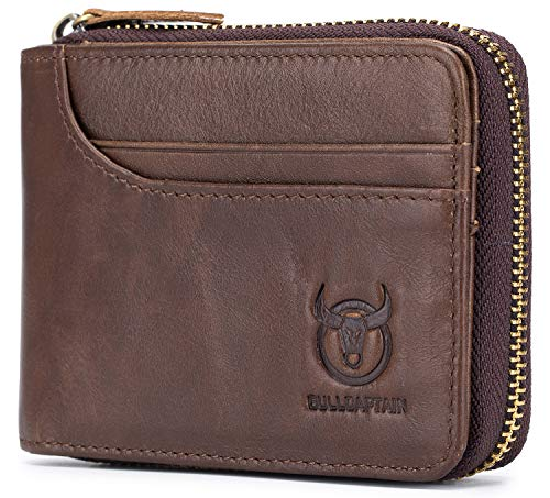 86e04fee5c28 Mens Genuine Leather Wallet RFID Blocking Secure Zipper Bifold Card Holder  Purse