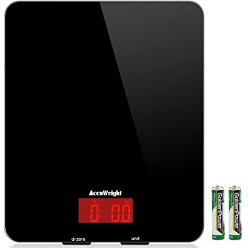 accuweight digital kitchen cooking scale 11lb 5kg electronic tempered glass kitchen food scale weighing scales with larger platform and backlit lcd