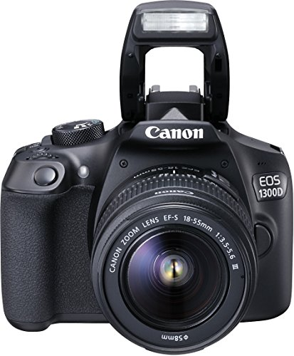 Canon EOS 1300D Reflex Fotocamera Digitale da 18 Megapixel, Wi-Fi, NFC, Nero/Antracite + EF-S DC III Obiettivo 18-55 mm
