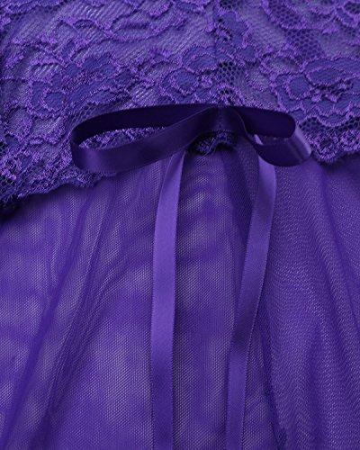 ZANZEA Donna Pizzo Chemises V-Neck Senza Schienale Camicia Perizoma Lingeria Babydoll Set Viola