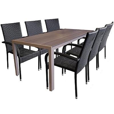 7tlg. Garnitur Aluminium Polywood 205x90cm + Poly Rattan Gartenstuhl stapelbar Gartengarnitur Terrassenmöbel Sitzgruppe Sitzgarnitur