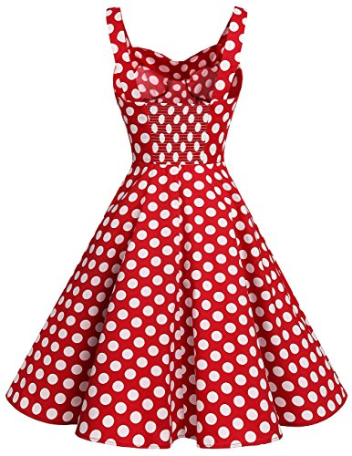 Dresstells Schultergurt 1950er Retro Schwingen Pinup Rockabilly Kleid Faltenrock Red White Dot L - 3