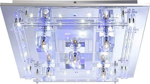 LED Farbwechsel Deckenlampe 5 Flammig Deckenleuchte Fernbedienung (Deckenbeleuchtung, Deckenstrahler, Wohnzimmerlampe, Schlafzimmerlampe, Kristalle, 45 cm, 5 x 20 Watt)