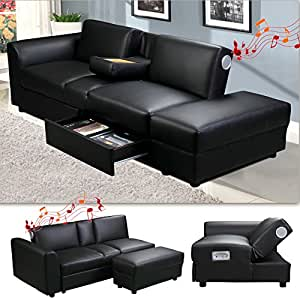 kin funktionssofa mit bluetooth schwarz schlafsofa sofa bettsofa couch k che. Black Bedroom Furniture Sets. Home Design Ideas