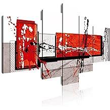 Dekoarte 89 - Cuadro moderno en lienzo 5 piezas estilo abstracto en tonos rojo, blanco y negro, 180x3x85cm