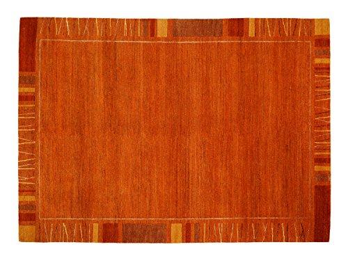 SANTA RAFFINATO echter original handgeknüpfter Nepal Teppich in kupfer, Größe: 250x350 cm -