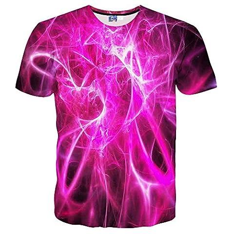 EOWJEED Unisex stilvolles beiläufiges Muster 3d druckte kurze Hülsen-T-Shirts Spitzen-T-Stücke - XXL