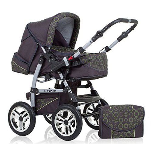 "14 teiliges Qualitäts-Kinderwagenset 2 in 1 ""FLASH"" in 38 Farben: Kinderwagen + Buggy - Megaset – all inklusive Paket in Farbe ANTHRAZITE-GRÜN-DEKOR"