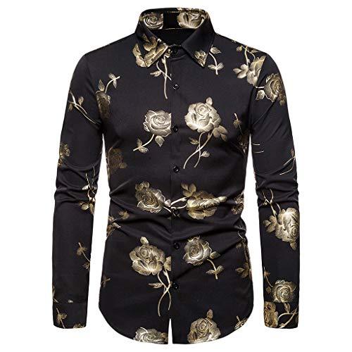 Uomo Gilded Stampato Camicia Vendita Casual a Maniche Lunghe Camicetta Tops Fit Baggy Blazer(Nero 13,Large)