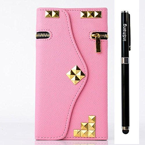 Custodia inShang cover per iPhone 6 4.7, Cover con Cerniera + build-in tasca , Supporto rigido per iphone6 Case in pelle PU, , + inShang Logo pennino di alta classe+ inShang Logo pennino di alta clas zipper rivet pink