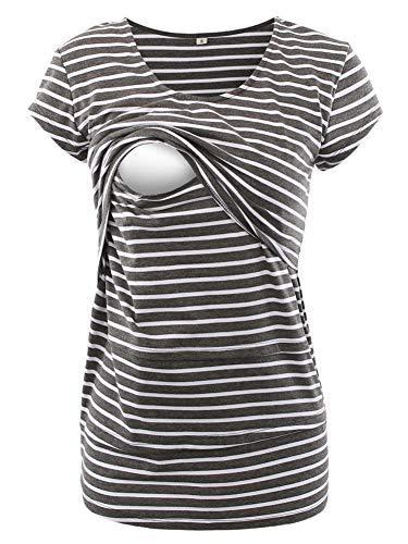 Love2Mi Frauen Umstandsmode Layered Unregelmäßige Pflege Shirt Stillshirt Kurzarm zum Stillen