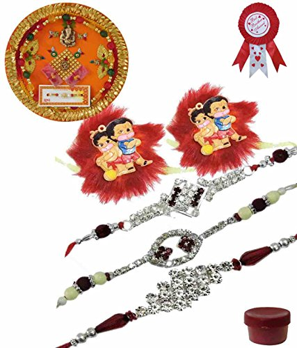 Adiari Fashion Set of 5 Multicolored AD Stone and Cartoon Characters Bracelet Rakhi Combo with Thali and Best Brother Award Batch for family