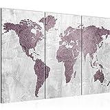 Bilder Weltkarte World Map Wandbild 120 x 80 cm Vlies - Leinwand Bild XXL Format Wandbilder Wohnzimmer Wohnung Deko Kunstdrucke Rosa Grau 3 Teilig -100% MADE IN GERMANY - Fertig zum Aufhängen 104331a